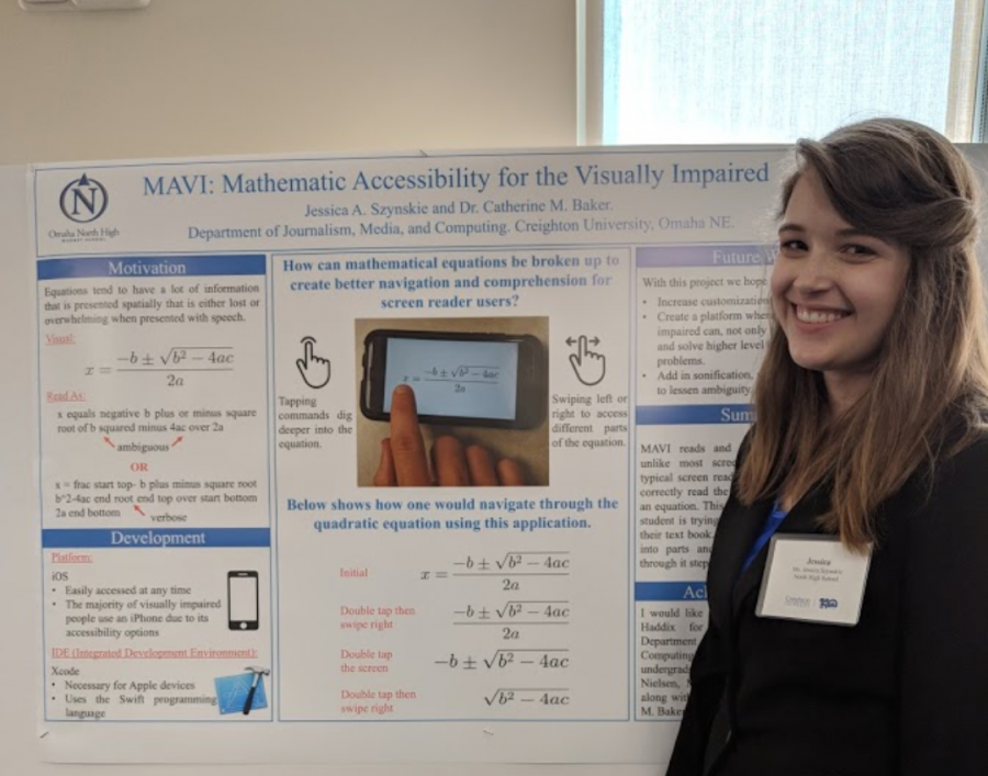 Jessie Szynskie poses in front of her poster board at Creighton on August 9, 2018. Szynskie plans to keep working on her research with the grad students she started the project with.  Photo courtesy of Francis Szynskie