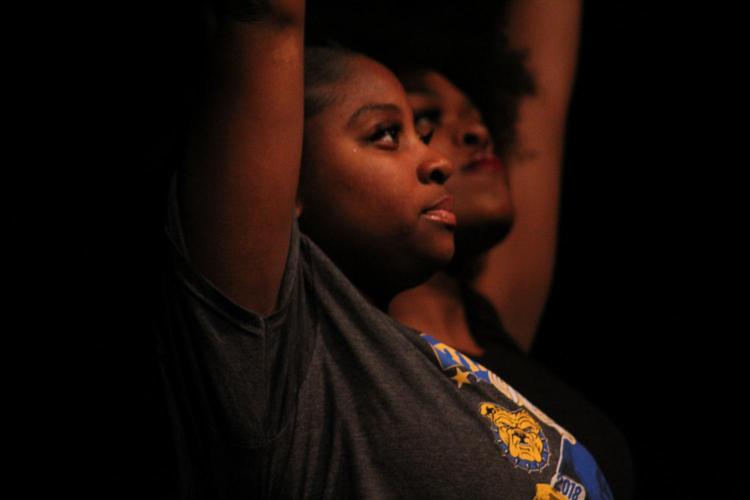 Kayleah Turner, 12, dances during the tribute to former North Counselor, Christopher Wiley, at the Black History Month Program on February 28th.  Photo by Caitlin Pieters
