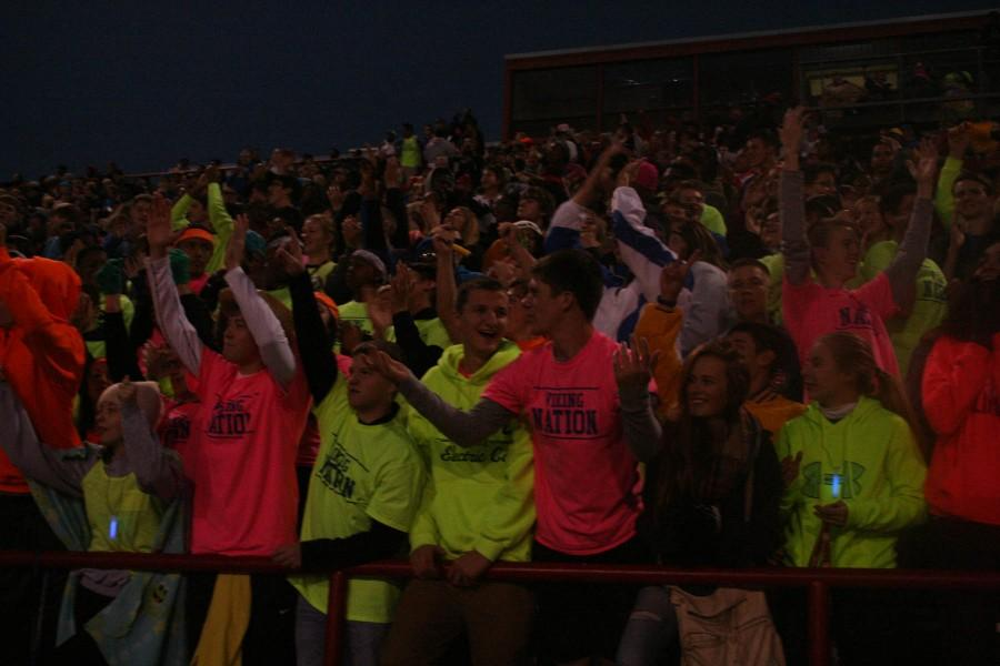 Student section celebrates a play at the North vs. South homecoming game on October 11 at Nile Kinnick Stadium. North had the victory of 56-0.