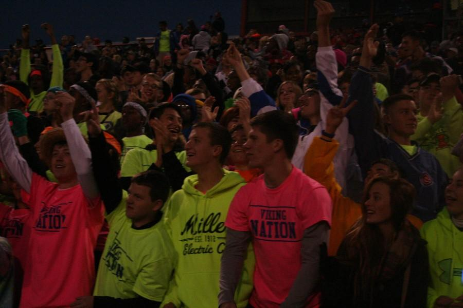 Student section reacts to a play at the North vs. South homecoming game on October 11 at Nile Kinnick Stadium. North had the victory of 56-0.