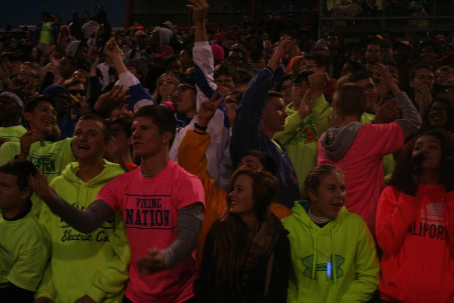 The Student section cheers on the football team at the North vs. South homecoming game on October 11 at Nile Kinnick Stadium. North had the victory of 56-0.