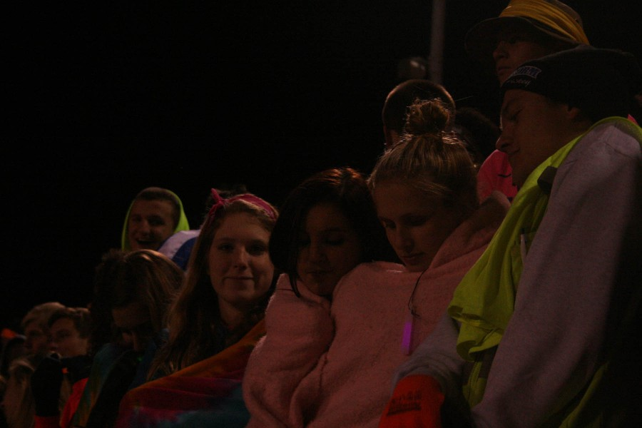Stephanie Hansen Deziree Read Kati Droenen and Andrew Jensen Cheer on the football team at the North vs. South homecoming game at Nile Kinnick Stadium on October 11. North finished the game with the score of 56-0
