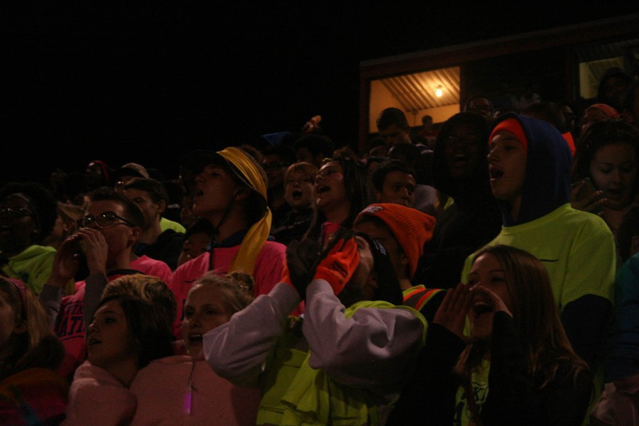 The student section gets pumped at the North Vs. South homecoming game on October 11 at Nile Kinnick Stadium. The final score was 56-0 North with the victory.
