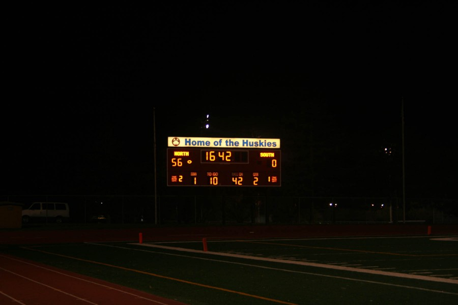 The final score at the North vs. South homecoming game at Nile Kinnick Stadium on October 11. North had the victory of 56-0.