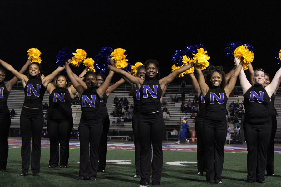 Price and Jones(left) performing at the senior night football game. The dance team's season is currently over until next year.