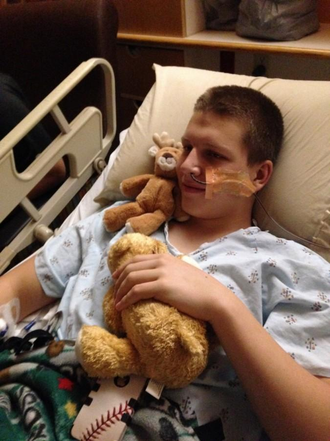 Collin Brown lays in hospital bed after an emergency surgery to remove his apendix. Brown was quickly also diagnosed with a bowel obstruction, causing him to be hospitalized for a month. Photo courtesy of Collin Brown