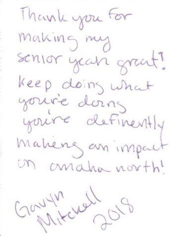 Message to Jackson on back of senior photo from former student, Gavyn Mitchell.  Photo courtesty of John Jackson